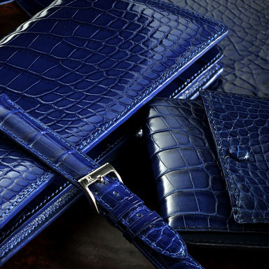 blue watch strap and blue wallets