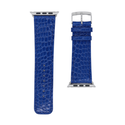 apple watch strap alligator bleu