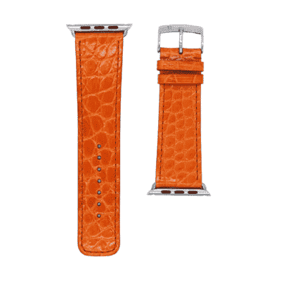 Apple watch strap orange alligator