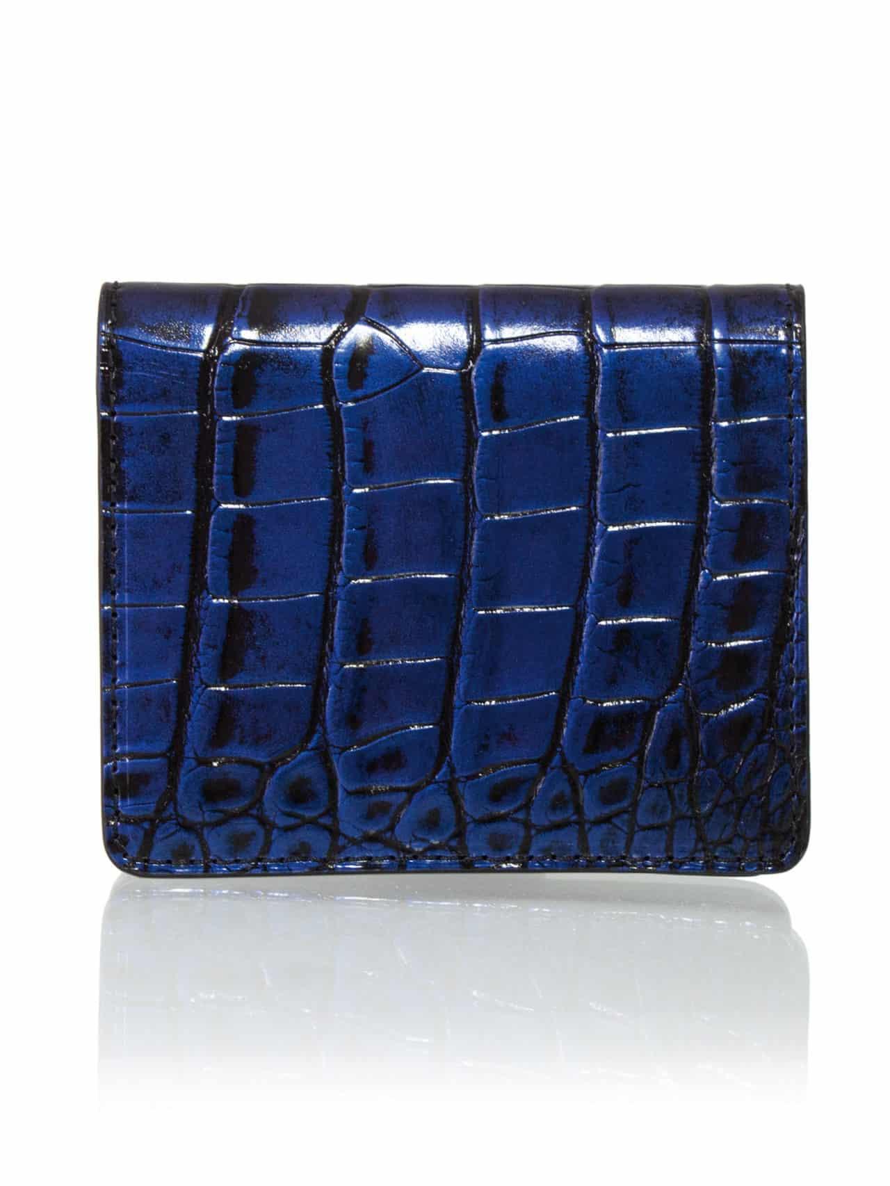 card holder blue alligator