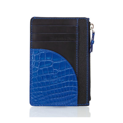 card holder blue alligator