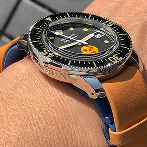 Blancpain Fifty Fathoms with veg tan gold and blue lining NATO strap